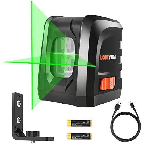 Lomvum Self-Leveling Laser Level 100FT Green Vertical Horizontal Cross Line Laser Level -visible in sunshine DIY line Laser Portable min Outdoor Laser Leveler