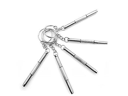5PCS 3 in 1 Keychain Stainless Steel Screwdriver Eyeglass Sunglasses Frames Watch Repair Kit Hand ToolsSilver