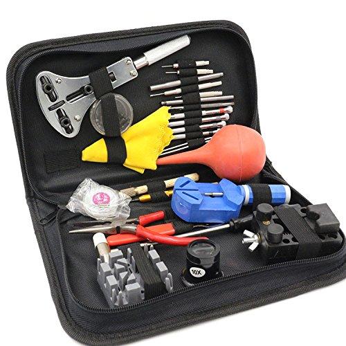 GVDOR 27 Piece Watch Repair Tool Kit Watch Link Opener Repair Remover Holder Tool Kit Set Pin Screwdriver  Case