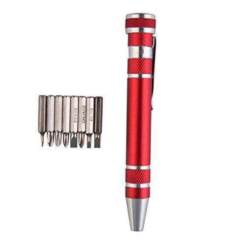 Bestpriceam 8 in 1 Pocket Precision Screwdriver Bit Set Torx Star Phillips Repair Tool Kit Red