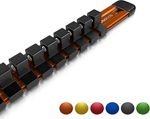 Olsa Tools 38-Inch Drive Aluminum Socket Organizer  Premium Quality Socket Holder Orange