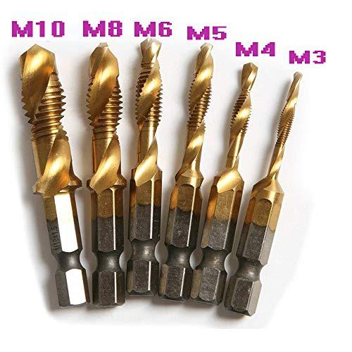 6 Pcs High Speed Steel HSS 4341 14 Inch Hex Shank Screw Thread Metric Tap Drill Bit M3456810 Titanium Plated Combination Drill and Tap Set