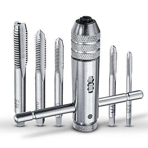 Ioffersuper T-Handle Ratchet Tap Wrench with 5pcs M3-M8 Machine Screw Thread Metric Plug Tap