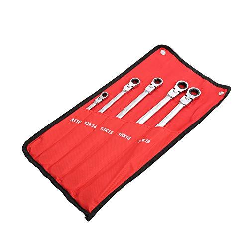 5 pc Metric Universal Flexible Head Auto Flex Double Box End Ratcheting Wrench