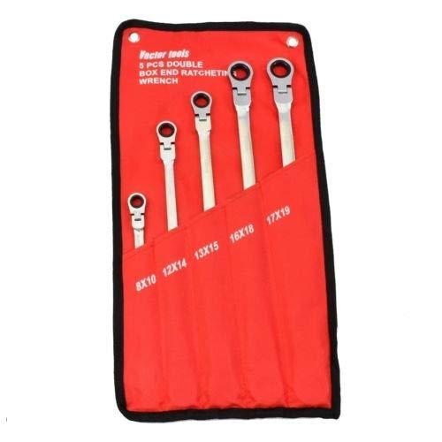 Double Box End Ratcheting Wrench 5 pc Metric Universal Flexible Head Auto Flex