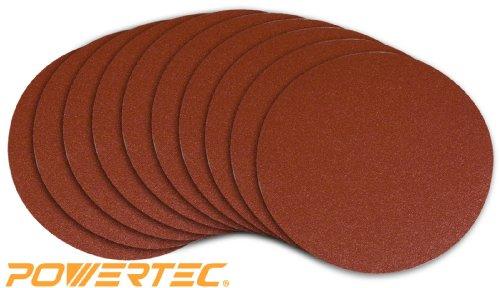 POWERTEC 110350 9-Inch PSA 100 Grit Aluminum Oxide Self Stick Sanding Disc 10-Pack