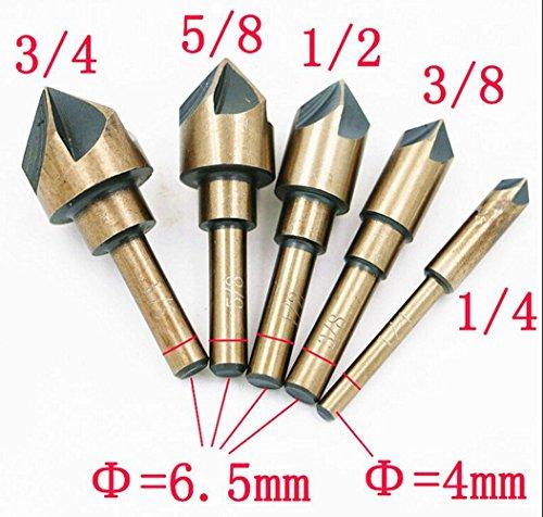 5PCS Industrial Countersink Drill Bit 82 Degree Five Edge Chamfering Cutter Tri-Flat Shank