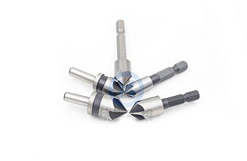 5pc Industrial 5 Flutes Countersink Drill Bit Set Wood Metal Working Chamfer