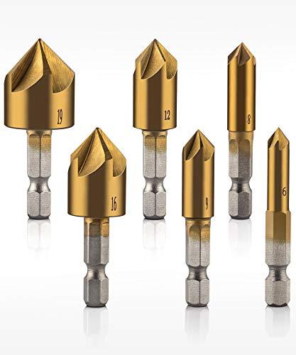 QWORK Countersink Drill Bits Center Punch Set 6 Pcs 14 Hex Shank HSS 5 Flute Countersink 90 Degree Center Punch Tool Sets For Wood Quick Change Bit 6mm-19mm