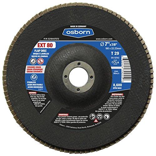 Osborn 5218447572 29 Ceramic 80 Grit Flap Disc T29 7 x 78 EXT 80 7 Type Pack of 10