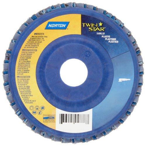 Norton RedHeat Abrasive Flap Disc Type 27 Round Hole Plastic Backing CeramicZirconia Alumina 4-12 Dia 120 Grit Pack of 1