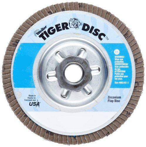 Weiler Tiger Abrasive Flap Disc Type 29 Threaded Hole Aluminum Backing Zirconia Alumina 4-12 Dia 80 Grit Pack of 1