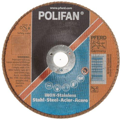 PFERD Polifan PSF Abrasive Flap Disc Type 29 Round Hole Phenolic Resin Backing Zirconia Alumina 4-12 Dia 60 Grit Pack of 1
