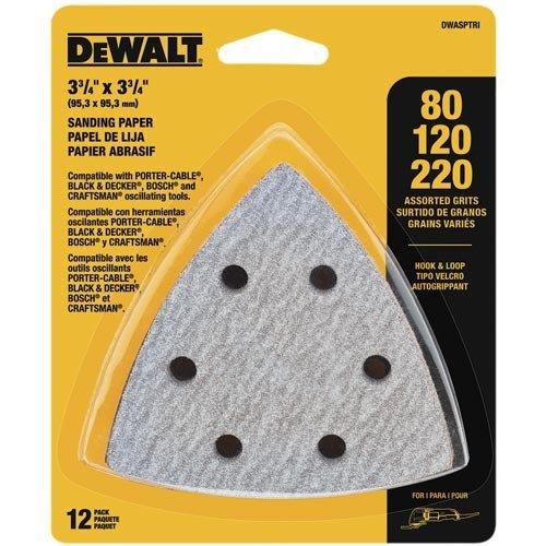 DEWALT DWASPTRI Hook and Loop Triangle Sandpaper Assorted 12-Pack Model DWASPTRI Tools Hardware store