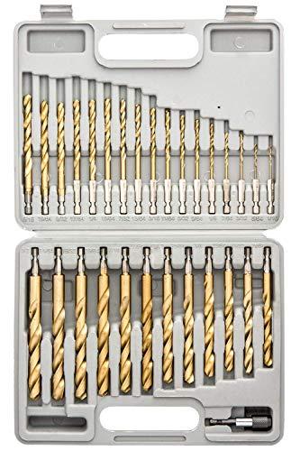 Tooluxe 10055L Titanium Coated Hex Shank Drill Bit Set 30 Piece  Quick Change Design  116 - 12