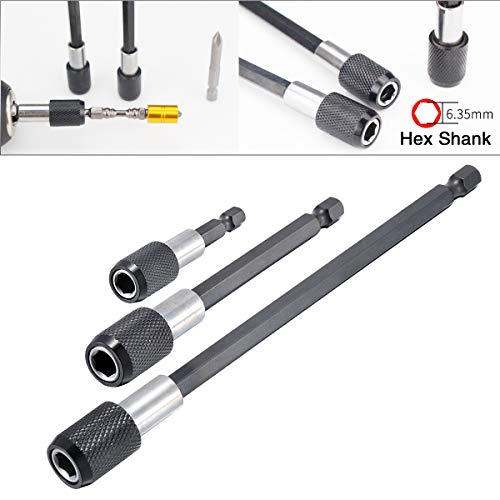 HOHXEN Magnetic Screwdriver Bit Holder 2 4 6 Hex Shank 14 Quick Change Drill Bit Extension Set -3Pcs