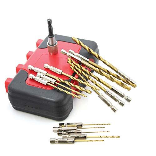 16pcs HSS Drill Bit Set 116- 14 Twist Drill Bits with Quick Change Adapter