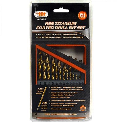 IIT 25080 Titanium Coated HSS Drill Bit Set with Metal Box