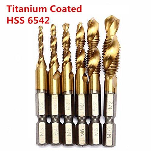 Mechanical Parts 6pcs HSS 6542 Titanium Coated M3-M10 Combination Drill Tap Bit Set 14 Inch Hex Metric Deburr Countersink Bits