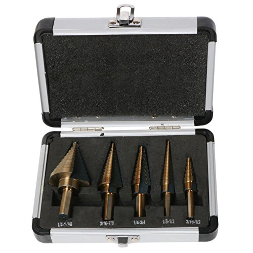 World Pride 5pcs Hss Cobalt Multiple Hole 50 Sizes Step Drill Bit Set with Aluminum Case