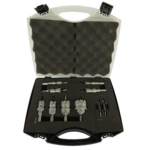Drill America 8 Piece Carbide Tipped Hole Cutter Set with 1 Depth of Cut 58 34 78 1 1-14 1-12 1-34 and 2 CTH Series