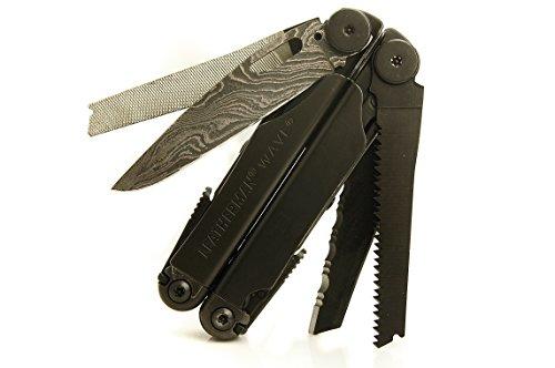 Wave Multi-Tool Black Ninja Edition with Damascus Steel Blade - TxTC Custom Tools