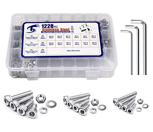 1228Pcs M3M4M5x8121620mm Metric Stainless Steel Hex Socket Head Cap Screws Bolts Nuts Lock Flat Washers Shcs Assortment Kit Allen Key