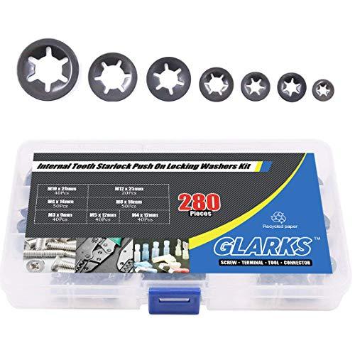 Glarks 280Pcs Internal Tooth Starlock Push On Locking Washers Speed Clips Fasteners Assortment Kit
