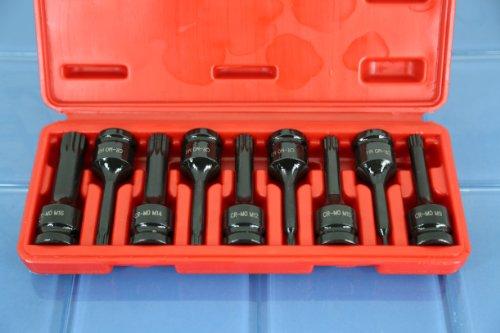 TEMO 9 PC Spline 12 point 3 Long Black Impact Bit Socket Set 12 Drive 15B5
