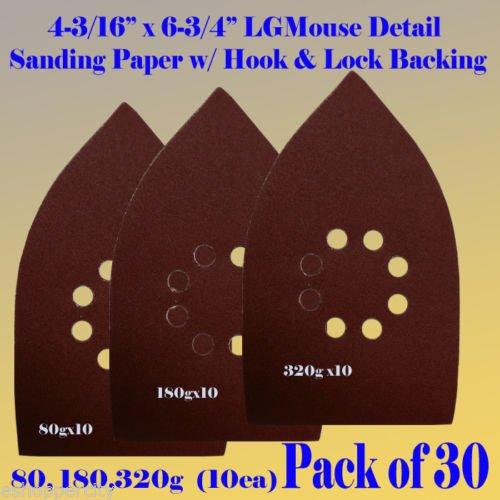 30 Assorted Large Mouse Detail Sander Sandpaper Sanding Paper Hook Loop Assorted 80 180 320 Grits for Black and Decker Mega Mouse Cyclon Sandstorm Craftsman
