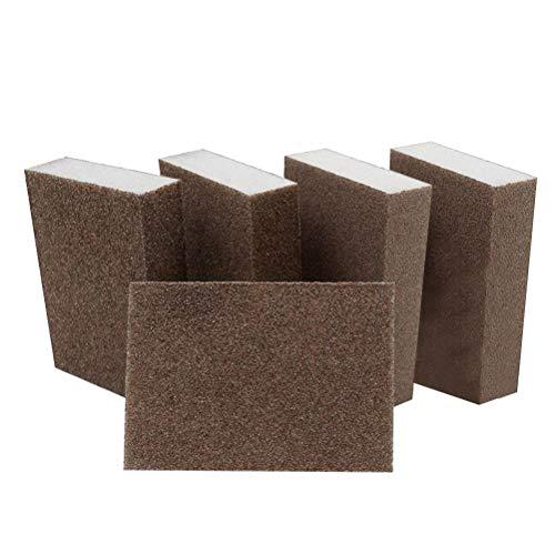 SUPVOX 5PCS Abrasive Hand Sanding Foam Sponge Blocks Grinding Pad for Furniture Wall Floor Grinding Kitchen Cleaning Hand Tool