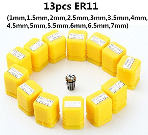 ER11 Collet Set 13PCS ER11 Collet Chuck CNC Spindle ER-11 Collet Lathe Tool Holder From 7MM for CNC Milling Lather