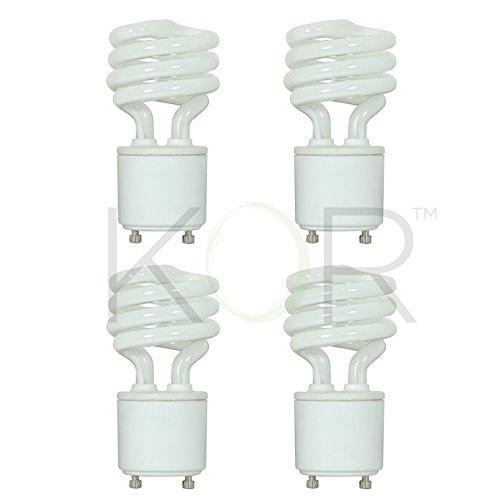 4 Pack 13 Watt Mini Spiral - GU24 Base - 60W Equivalent - T2 Mini-Twist - CFL Light Bulb Warm White 2700K CFL