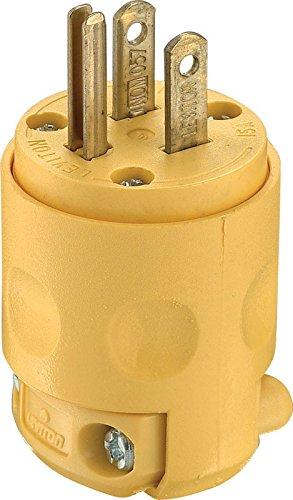Leviton 515PV Polarized Electrical 15 Amp 125 Volt NEMA 5-15P 2-Pole 3-Wire Plug Straight Blade Yellow 24 Pack