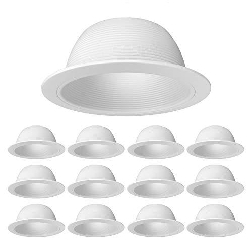 12-Pack PROCURU 6 White Baffle Metal Recessed Can Light Trim - for BR303840 PAR303840 LED Incandescent CFL Halogen White 12-Pack