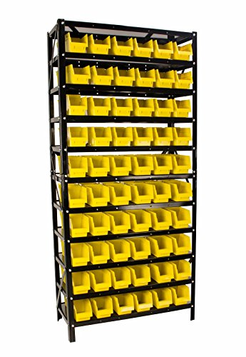Erie Tools TLPB60 60 Parts Bin Shelving Organize with Plastic Bins for Garage Shop and Home Storage