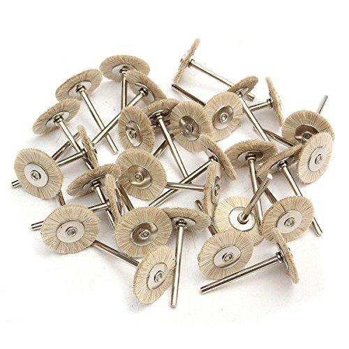 30pcs Soft White Goat Hair Polishing Wheel Brushes - Power Tool Parts Abrasive Tools - 30pcs x Dental Polishing Brushes