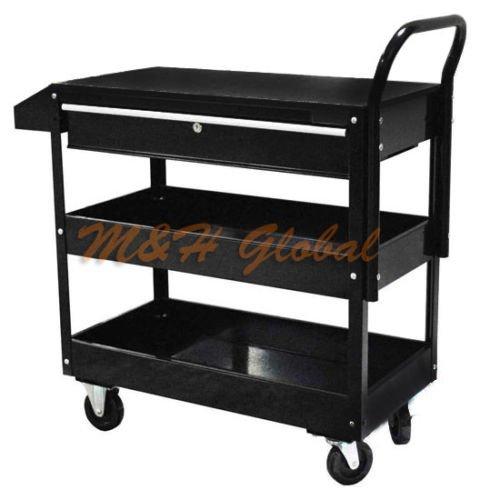 Metal Steel Roller Tool Cart Rolling Part Storage Bin 1 Drawer 36 - Black