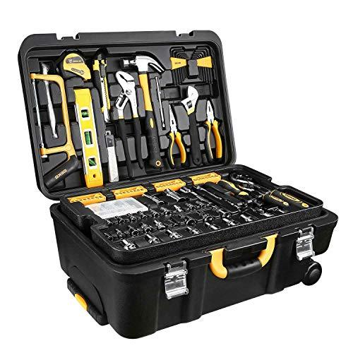 Rabinyod Bulan 258 Piece Tool Kit Socket Wrench Hand Tool Set with Rolling Tool Box