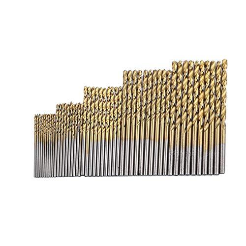 Driak 50PCS Titanium Coated High Speed Steel Twist Drill Bit Set Micro Precision bit 1152253mm for Wood Plastic Aluminum Copper Steel