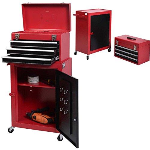 2pc Mini Tool Chest Cabinet Storage Box Rolling Garage Toolbox Organizer New