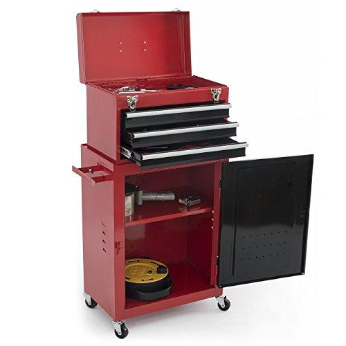 ARKSEN 2pc Mini Tool Chest Cabinet Storage Box Red Rolling Garage Toolbox Organizer