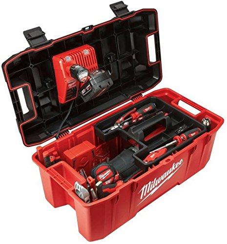 Milwaukee HUGE Tool Storage Box Hi-Impact Lockable Lid Jobsite Work Power Tools Chest Organizer Portable Garage Toolbox 26 in