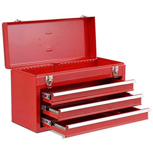 Adumly Portable Tool Chest Box Storage Cabinet Garage Mechanic Organizer 3 Drawers