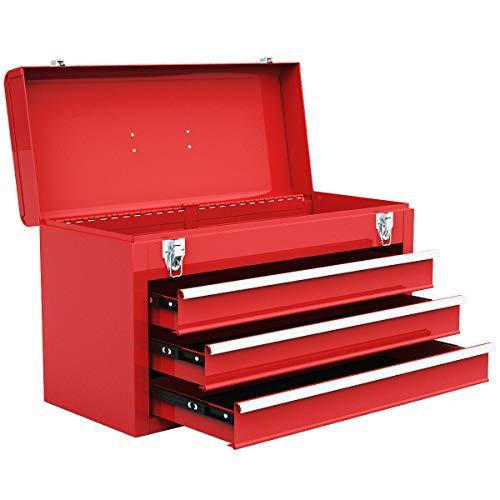 Boomer888 Portable Tool Chest Metal Box Storage Cabinet Garage Mechanic Organizer 3 Drawers Big Red Heavy Duty Steel Organizer