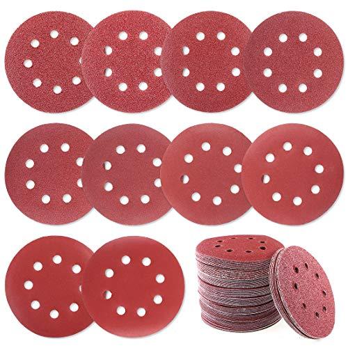 Glarks 100Pcs Sanding Disc Assortment 5 Inch 8 Hole Dustless Hook and Loop Sandpaper Sanding Disc Sandpaper Sanding Sheets Assorted 40 60 80 100 120 180 240 320 400 800 Grit for Random Orbital Sander