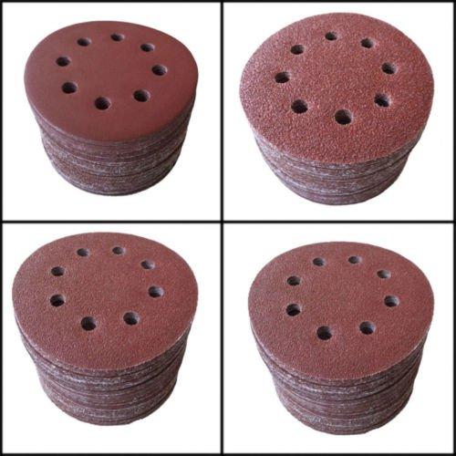 SHINA 10pcs 5125mm 8 Hole 240 Grit Mix Sanding Disc Random Orbit Sandpaper Velcro Sander