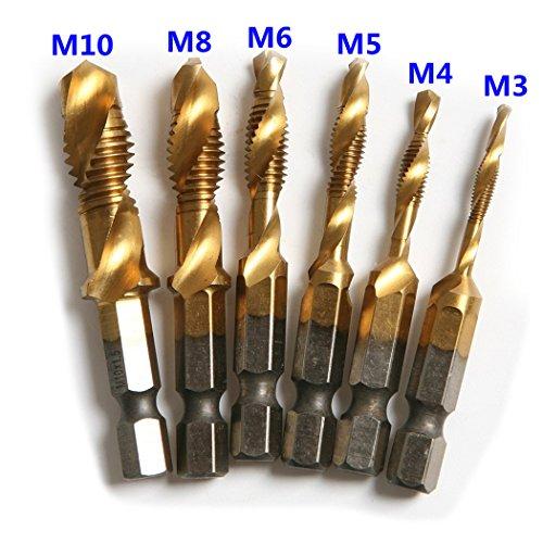 Inton M2 Material 6pcs HSS 14 Inch Hex Metric Deburr Countersink Titanium Coated Combination Drill Tap Bit Set M3-M10 6pc titanium