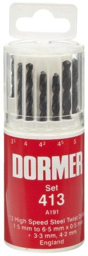 Dormer A191413 Jobber Drill Set 15 mm - 65 mm x 05 mm  33 mm 42 mm Size