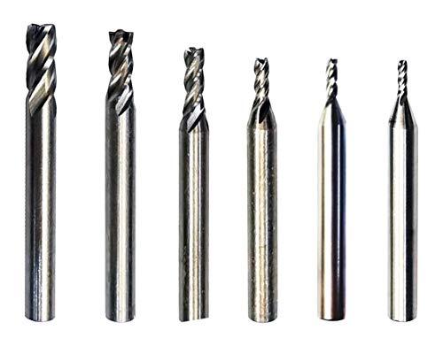End Mill Bits HSS CNC End Mill Cutter for Wood Aluminum Steel Titanium Straight 4 Flute Mill Bit Set of 6(3mm4mm6mm8mm10mm12mm)